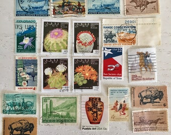 Lot of 20 Cactus Desert American West cancelled postage stamps buffalo