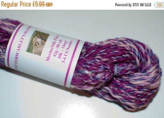 Christmas In July Pink/Purple Merino/Silk Handspun Yarn 42g/58yds