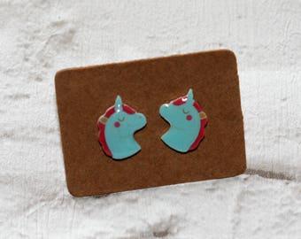 Blue Unicorn Earrings, Teeny Tiny Earrings, Horse Jewelry, Cute Earrings