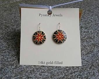 Red geometric rose star pysanky earrings