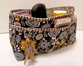 Quilted Purse Organizer Insert With Enclosed Bottom Large - Black, White, and Yellow