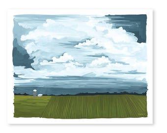 Silo Landscape Art Print - 11x14 // 1canoe2 // Hand Illustrated