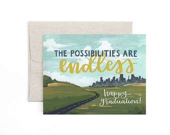The Possibilities are Endless Graduation Card // Illustrated Card // 1canoe2
