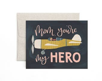 Mom, You're My Hero // Illustrated Card // 1canoe2