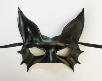 Black Cat Leather Mask costume very lightweight easy to wear