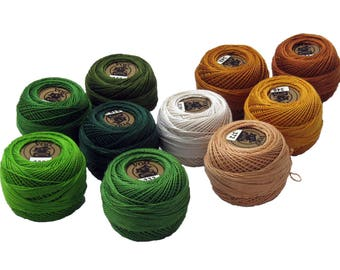 Vog© Perle Cotton Size 8 Embroidery Threads - Set of 10 Balls (10gr Each) - Green and Beige Shades (column No. 6)