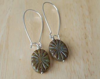 Green earrings dangle, silver drop earrings, minimalist earrings, boho jewelry, mothers day gift mom gifts from daughter, Czech glass