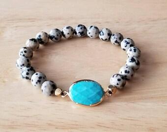 turquoise bracelet, jasper bracelet, boho jewelry, mala beads bracelet, beaded bracelet for women, mothers day gift mom gifts from daughter