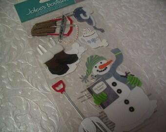 6 Pieces Snowman Stickers for Scrapbook Craft Embellishment Supplies