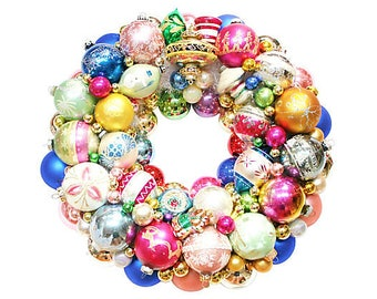 Ornament Wreath, Pastel Wreath, Vintage Ornament Wreath, Christmas Wreath, Glass Wreath, Pink Ornament Wreath