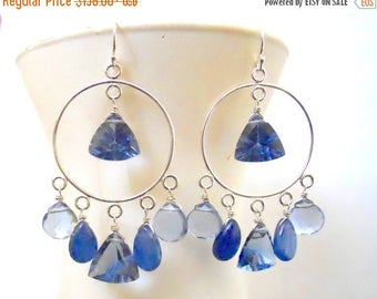 XMAS IN JULY 20% off, Tanzanite Blue Hoop Earrings, Quartz and Kyanite, Limited edition, Sterling or Gold, keverback or french,
