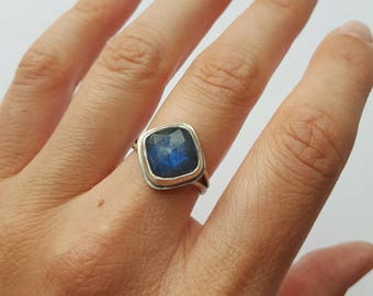 Labradorite Ring Purple Ring Silver Ring Blue Purple Ring Square Shape Ring Faceted Stone Ring