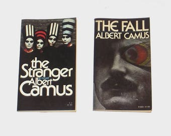1970s Fiction books / 70s Literature Paperbacks / The Fall and The Stranger Set of Two Books by Albert Camus