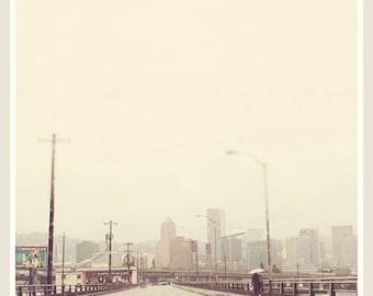 Portland Oregon photograph, Hawthorne Bridge, downtown city skyline, rainy day, neutral gray grey, Pacific Northwest travel print