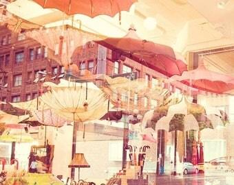 SALE Seattle photography art print, les parapluies, photo of umbrellas, rainy day in Seattle, red orange parasol, Pacific Northwest art