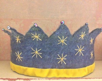 Blue golden Stars Crown - Waldorf Crown - Kindergarten Crown - Princess Crown - Prince Crown - Festival