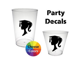 Party Cup Vinyl Decals Girl Graduation Silhouette Decals DIY Party Supply Graduation Decoration Set of 18 Pick From 25 Colors
