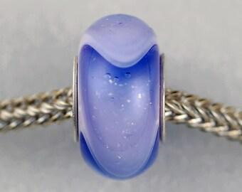 Unique Blue on Pink Dichroic Dillo - Artisan Charm Bracelet Bead - (MAR-44)