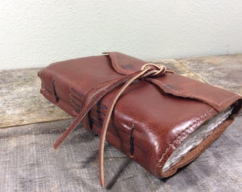 Classic Brown Leather Sketchbook with Tie