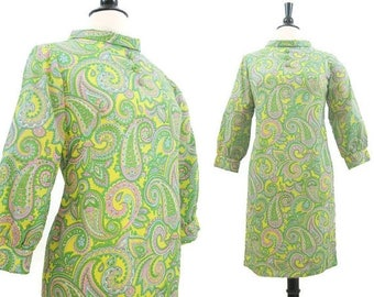 REDUCED Vintage 60s Dress Psychedelic Paisley Print Mini Roll Collar Mod S - M
