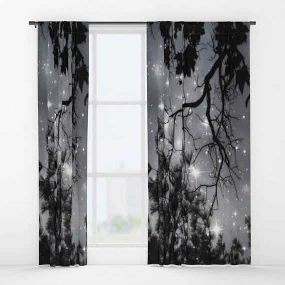 Starry Night Sky Window Curtain, Stars, Forest, Decorative, Unique Design, Nature Decor, Office Window Curtain, Dorm, Campus,Woodland,Dreamy
