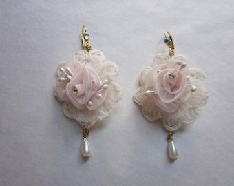 BLUSH Pink Rhinestone Beaded Organza Rose Flower Pearl Drop Lace Pierced Earring