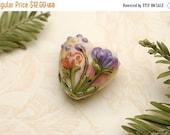 ON SALE 35% OFF Yellow w/Purple & Orange Flora Heart Focal Bead - Handmade Glass Lampwork Bead 11819205