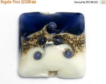 ON SALE 35% OFF Glass Lampwork Bead - White w/Purple Pillow Focal Bead 11808904