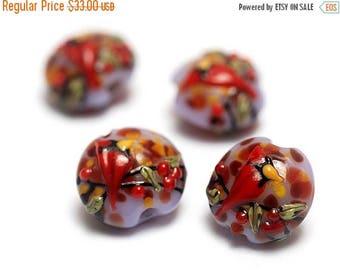 ON SALE 35% OFF Glass Lampwork Bead Set - Four Autumn Red Cardinal Lentil Beads 11007712
