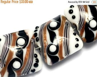 ON SALE 35% OFF Four Sophisticated Trio Pillow Beads - Handmade Glass Lampwork Bead Sets 10204514