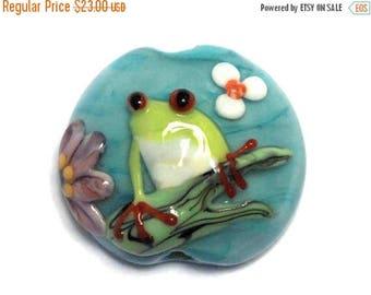 ON SALE 30% off NEW! 11839902 Happy Frog Lentil Focal Bead - Handmade Glass Lampwork Bead