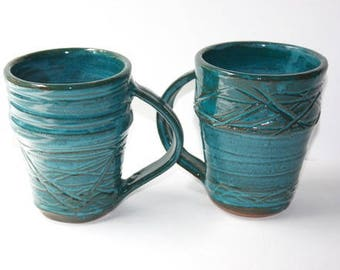 Turquoise Mug or Stein Pair Hand thrown Stoneware  Each Holds Over Two Cups / A Pint