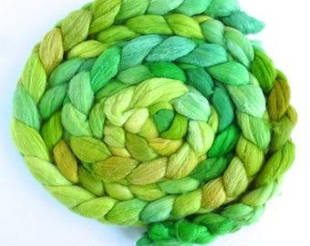 Polwarth/Silk 60/40 Roving - Handpainted Spinning or Felting Fiber, Light on Leaves