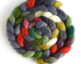BFL Wool Roving - Hand Painted Spinning or Felting Fiber, Lucky Adelaide