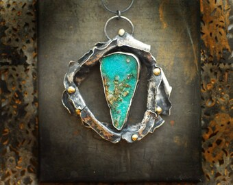 Raw Chrysocolla Necklace, Natural Blue Gemstone, Keum Boo Gold Pendant, Sterling Silver Statement Jewelry, Ocean Sea Art, Wearable Sculpture