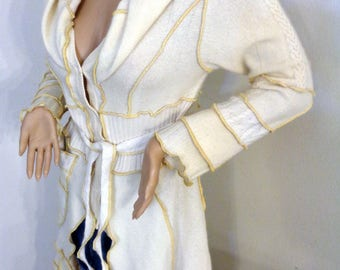 Katwise style Long cardigan hoodie lambs wool, merino button up front , extra long elvin hood, carnival outfit,  spring summer  off white