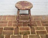 Antique Vintage Wooden Stool Primitive Rustic Stool Farmhouse Find
