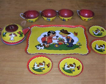 Vintage Tea Set Vintage Tin Tea Set Child's Vintage Tea Set Vintage Ohio Art Tea Set Number 173