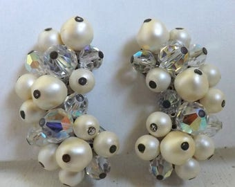 On Sale Vintage Laguna climber aurora borealis clear cluster beaded earrings crescent pearl bridal wedding jewelry
