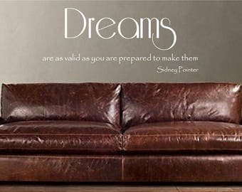 Dream Quote, Inspirational Sign, Motivational Sign, Vinyl Letters Decals, Dream Wall Decal,  Quote Wall Decal