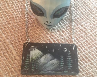 UFO Flying Saucer Mountains Illustrated Shrinky Dink Necklace Choker