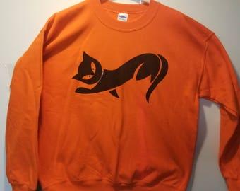 Rhinestone Halloween Cat Sweatshirt