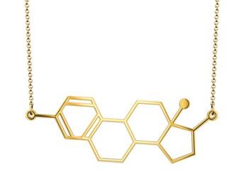 Estrogen Molecule Necklace - Gold