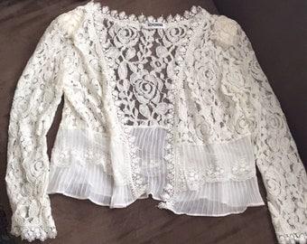 White Lace Blouse, Vintage Lacy Open Blouse See Through 80s Lace Jacket Vintage Lace Open Top White See Through Lacy Blouse Madonna 1980s