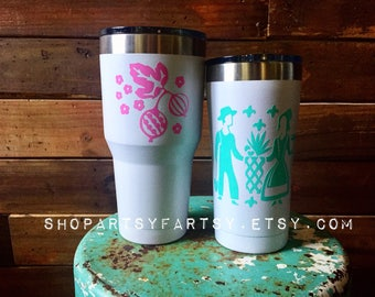 Pyrex Inspired  20 oz  or 30 oz White Vacuum sealed Ozark Trail White Tumbler with Pyrex decals and Name in your color