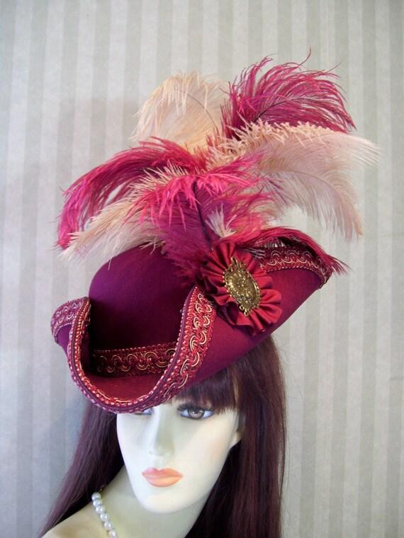 Pirate Hat, Tricorn Hat, Renaissance Hat, LARP, Burgundy Steampunk Hat, Halloween Pirate Hat, Jack Sparrow Hat by mspurdy