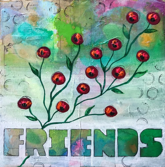 Original Mixed Media Painting on Wooden Panel Friends Flowers Colorful Whimsical