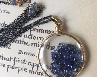 Floating Gemstone Locket Shake Locket Sapphire Locket September Birthstone Locket Antique Glass Locket