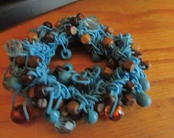 Blue cord bead string bracelet