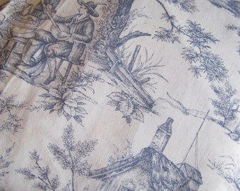 Vintage Fabric, Toile de Jouy, Blue And White Toile Fabric, French Jouy Print, Pastoral Fabric, French Toile Fabric, Pictorial Toile Fabric